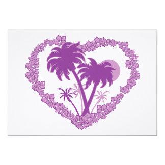 Corazón tropical hawaiano de la palmera invitación 12,7 x 17,8 cm