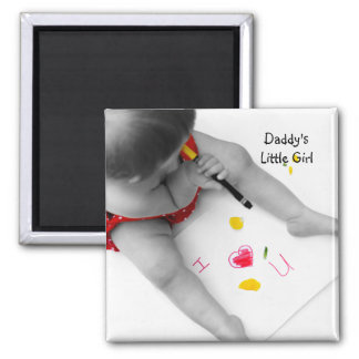 Corazón U del papá I de la niña de Daddys te amo Imán Cuadrado
