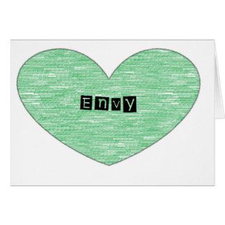 Corazón verde de la envidia tarjeta de felicitación