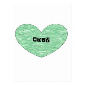 Corazón verde de la envidia postal