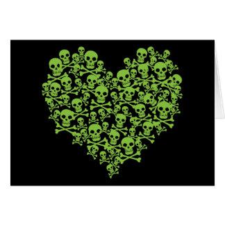 Corazón verde del cráneo tarjeta de felicitación