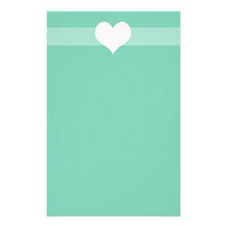Corazón verde simple inmóvil papeleria personalizada
