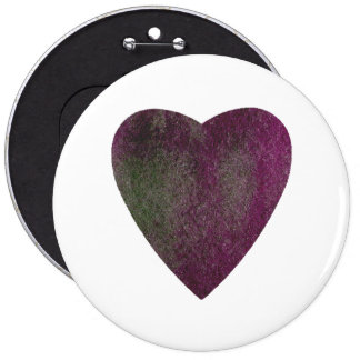 Corazón verde violeta de la acuarela chapa redonda de 15 cm