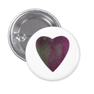 Corazón verde violeta de la acuarela chapa redonda de 2,5 cm