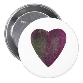 Corazón verde violeta de la acuarela chapa redonda de 7 cm
