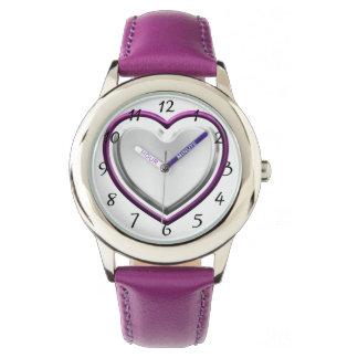 Corazón violeta relojes