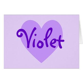 Corazón violeta tarjeta de felicitación
