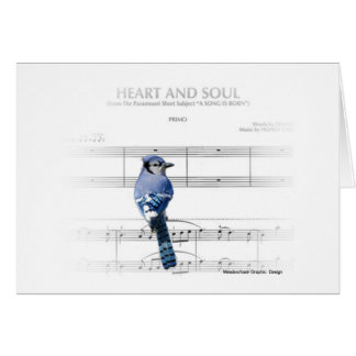 Corazón y alma - tarjeta de nota del arrendajo