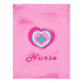Corazón y enfermera rosados de la Cruz Tarjetas Postales