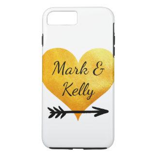 Corazón y flecha del oro funda para iPhone 8 plus/7 plus