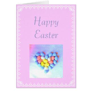 Corazón y huevos de Pascua Felicitación