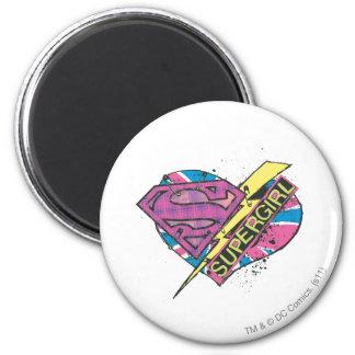 Corazón y perno de Supergirl Imán Redondo 5 Cm