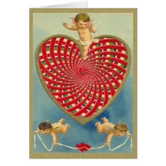 Corazón y querubes tejidos vintage adaptable tarjeta de felicitación