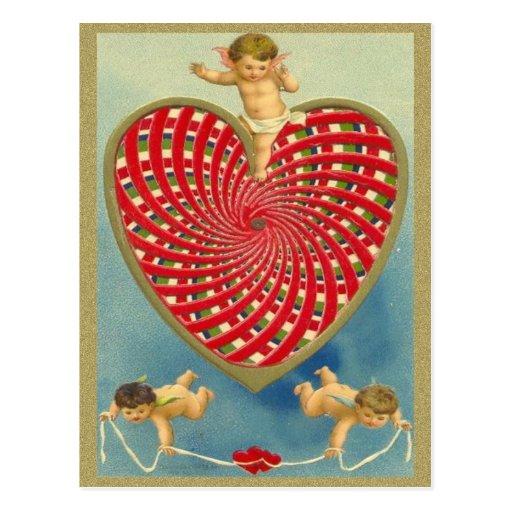 Corazón y querubes tejidos vintage adaptable postal