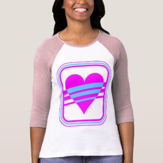 Corazón y rayas del vintage del tigre 80s de Corey Camiseta