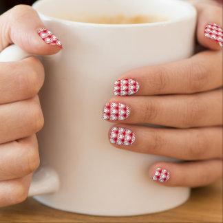 Corazones abstractos modernos - rojo y blanco pegatina para uñas