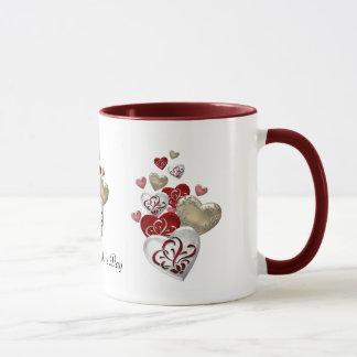 Corazones adornados taza