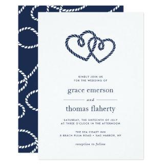 Corazones anudados que casan la invitación