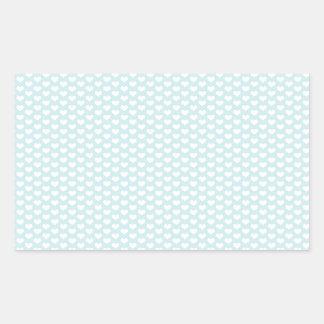 Corazones azules claros y blancos pegatina rectangular