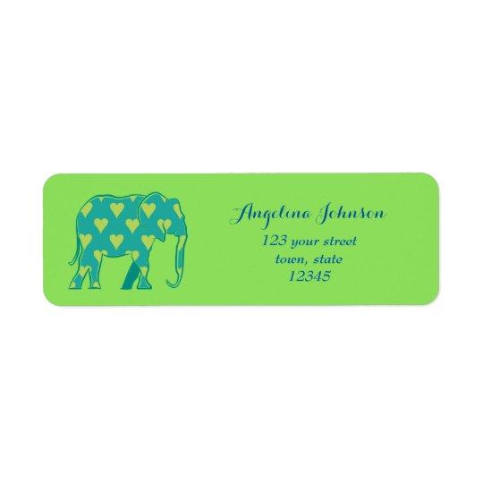 Corazones azulverdes frescos del elefante africano etiqueta de remitente