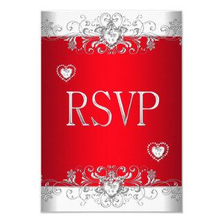 Corazones blancos de plata rojos del diamante de invitación 8,9 x 12,7 cm