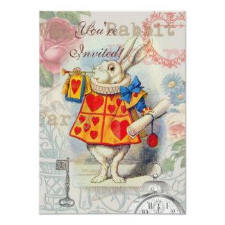 Corazones blancos del conejo invitación 11,4 x 15,8 cm