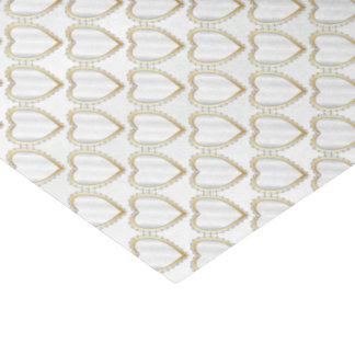 Corazones blancos elegantes del diamante del satén papel de seda