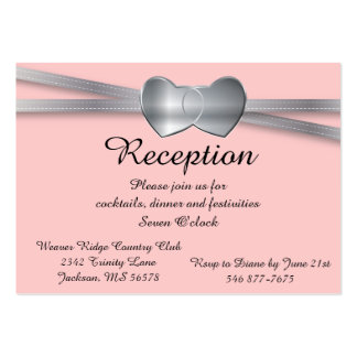 Corazones bonitos del amor de la bodas de plata tarjetas de visita grandes