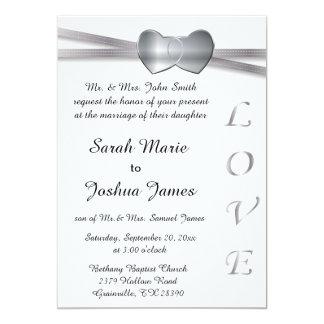 Corazones clásicos del amor de la bodas de plata invitación 12,7 x 17,8 cm