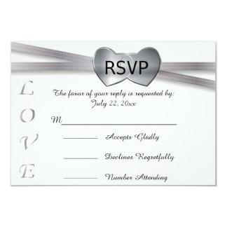 Corazones clásicos del amor de la bodas de plata invitación 8,9 x 12,7 cm