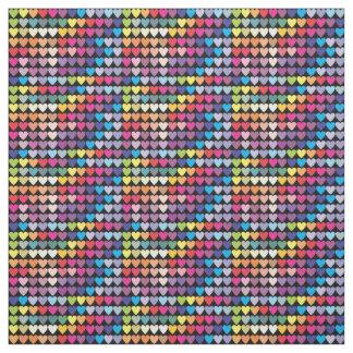Corazones coloridos del arco iris lindo tela