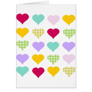 Corazones coloridos tarjeta de felicitación