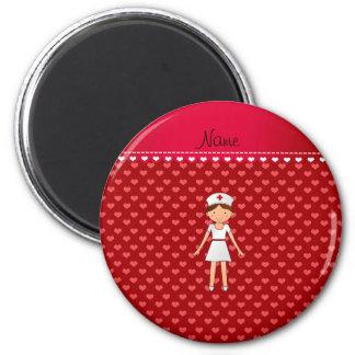 Corazones conocidos personalizados del rojo de la imán redondo 5 cm