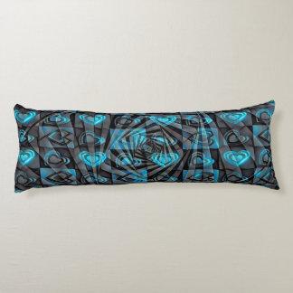 Corazones de la aguamarina almohada de cuerpo entero