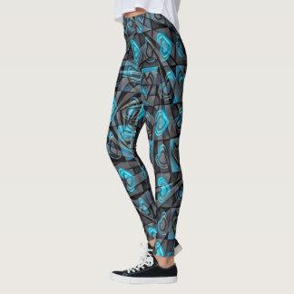 Corazones de la aguamarina leggings