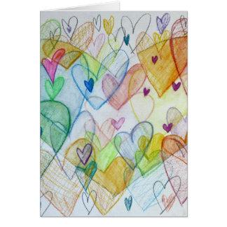 Corazones de la comunidad que pintan la tarjeta de
