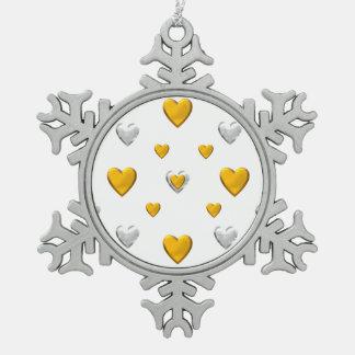 Corazones de la plata y del oro adorno