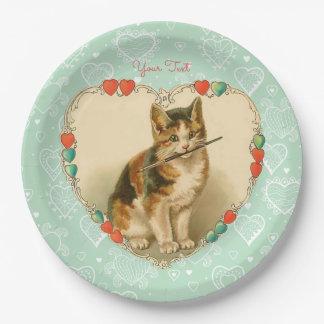Corazones de la tarjeta del día de San Valentín Plato De Papel