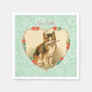 Corazones de la tarjeta del día de San Valentín Servilletas Desechables
