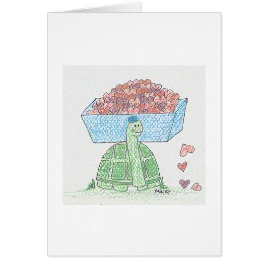 Corazones de la tortuga tarjeta de felicitación