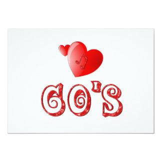 corazones de los años 60 invitación 12,7 x 17,8 cm
