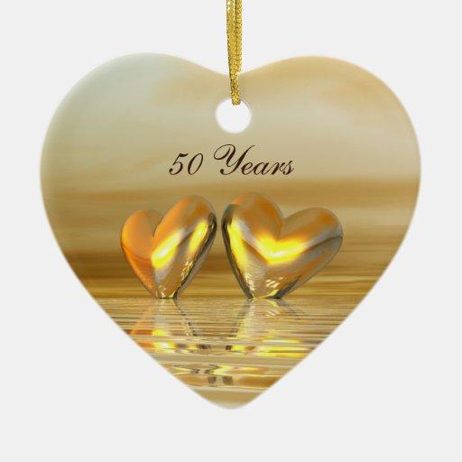 Corazones de oro del aniversario adorno