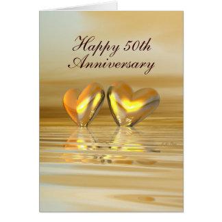 Corazones de oro del aniversario (altos) tarjeta de felicitación
