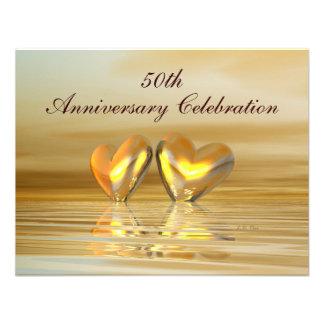 Corazones de oro del aniversario comunicado