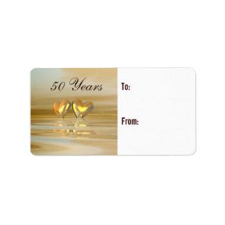 Corazones de oro del aniversario etiquetas de dirección