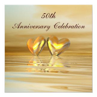 Corazones de oro del aniversario invitación 13,3 cm x 13,3cm