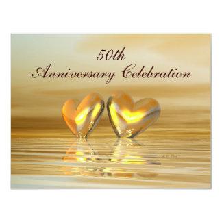 Corazones de oro del aniversario invitación 10,8 x 13,9 cm