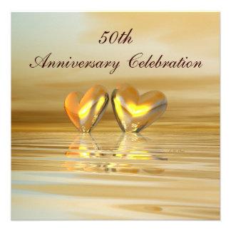 Corazones de oro del aniversario comunicado personal