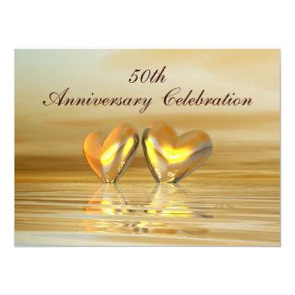 Corazones de oro del aniversario invitación 16,5 x 22,2 cm