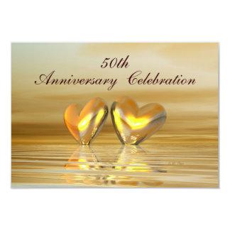 Corazones de oro del aniversario invitación 8,9 x 12,7 cm